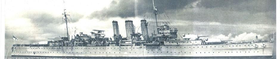 The Royal Navy cruiser Dorsetshire